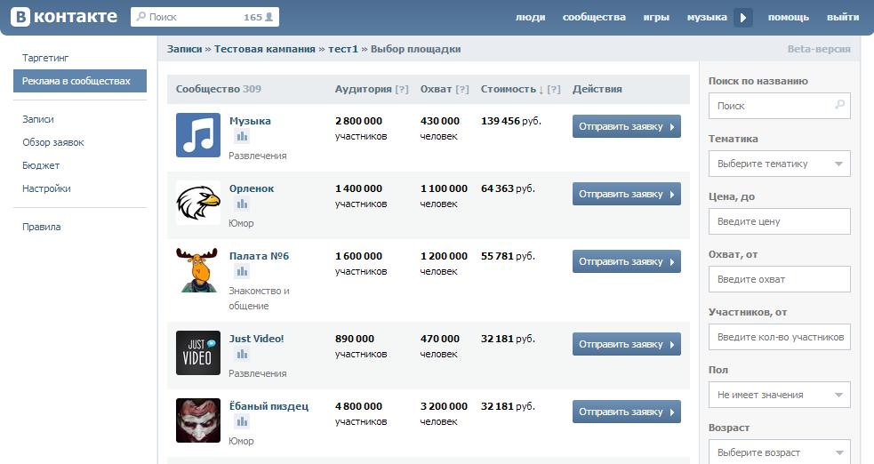 Цены на рекламу в группах Вконтакте